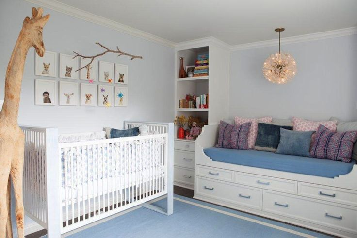 Beautiful nursery from Kishani Perera. #laylagrayce #baby #PinAtoZbenjamin moore crystal blue