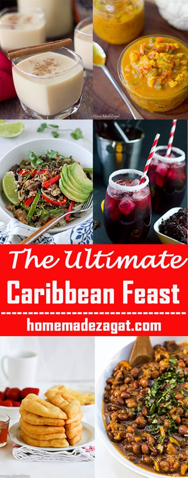 A huge roundup of Caribbean dishes,  breakfast, entrees, desserts, drinks, snacks. Perfect to be used during the Thanksgiving and Christmas seasons #Caribbeanfood #Thanksgiving #Christmas #HomeMadeZagat