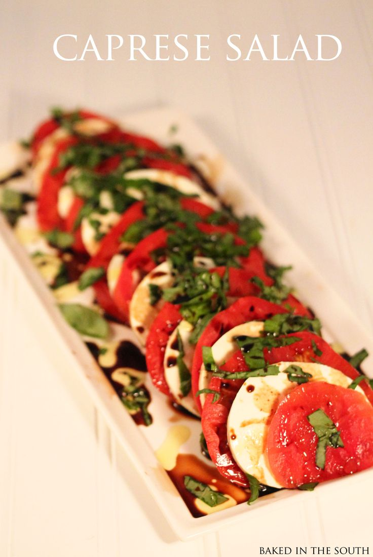 Caprese Salad  Print Ingredients 3 vine-ripe tomatoes, ¼-inch thick slices 1 pound fresh mozzarella, ¼-inch thick slices 20 to 30 leaves (about 1 bunch) fresh basil Extra-virgin...