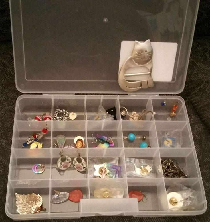 Box of Fashion jewelry, mostly earrring, pins and other miscl.