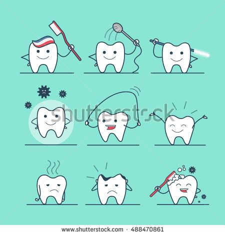 Linear Flat cute tooth character flossing, brushing, washing, rinsing, caries protection vector illustration set. Dental health care concept.