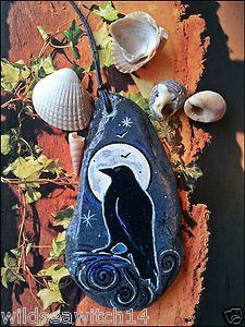 SEA STONE WALL HANGING RAVEN TOTEM Spirit Animal Talisman/Guide WICCA PAGAN Fae