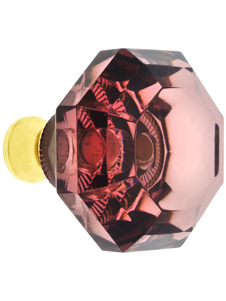 Amethyst Lead-Free Octagonal Crystal Knob with Solid Brass Base | House of Antique Hardware