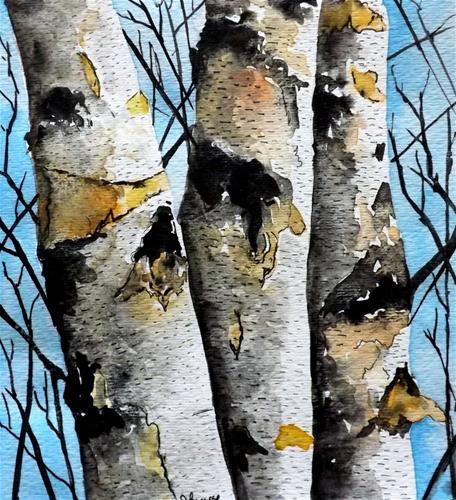 """""""Original Watercolor Painting- Birch Tree Landscape"""" - Original Fine Art for Sale - © James Lagasse"""