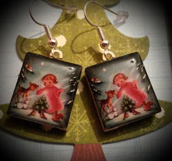 Christmas Child Scrabble Earrings