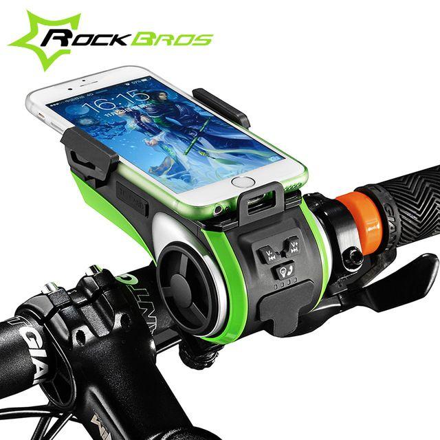 Rockbros bicicleta accesorios bicicleta luz luz de la lámpara a prueba de agua moto bicicleta soporte para teléfono doble luces led usb cargador de la linterna