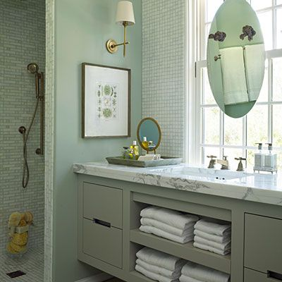 2012 | Rosemary Beach | Guest Bath | Designer: Urban Grace Interiors    This is a FIRST! I've never seen a mirror mounted on the window....I guess you should never say never!!!!