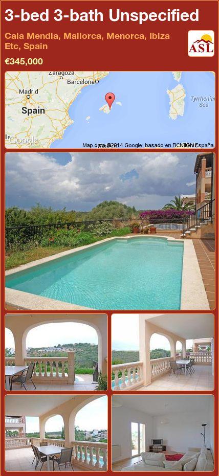 3-bed 3-bath Unspecified in Cala Mendia, Mallorca, Menorca, Ibiza Etc, Spain ►€345,000 #PropertyForSaleInSpain