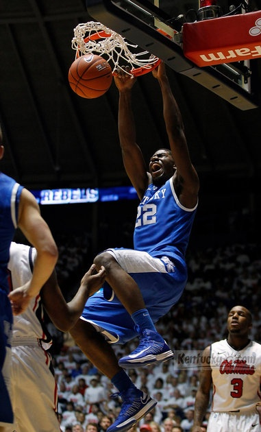 Kentucky's Alex Poythress (22) dunked in the second half of the Kentucky at Ole Miss men's basketball game at Tad Smith Coliseum in Oxford, Miss.,, on Jan. 29, 2013. Kentucky won 87-74.