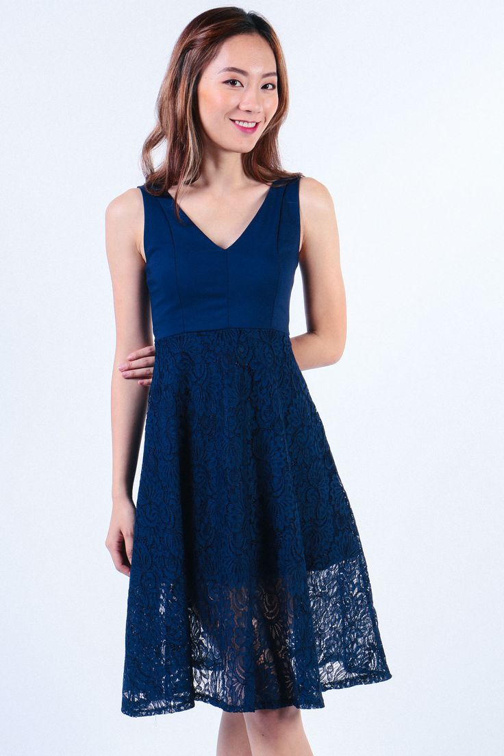 V Neck Lace Bottom Dress (Navy) Image 0