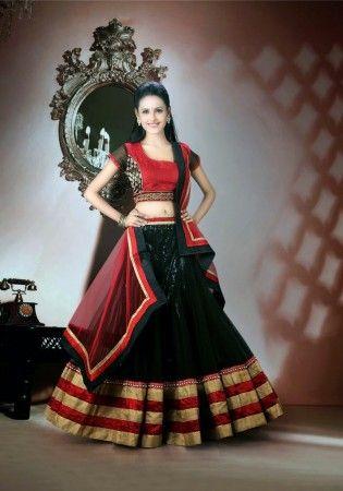 Awesome Black And Dark Red Net Lehenga