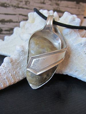 River rock Silver spoon pendant