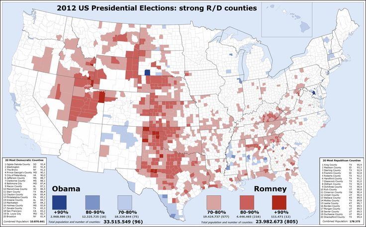 2012 US presidential election: strong R/D counties