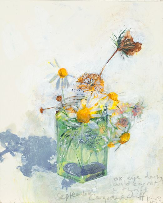 Ox-eye daisy, wild carrot and thrift, Cargodna cliff. September 2014 in KURT JACKSON from The Redfern Gallery
