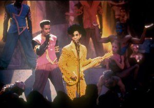 "Prince and The New Power Generation perform ""Gett Off"" at the 1991 MTV Video Music Awards in Los Angeles."