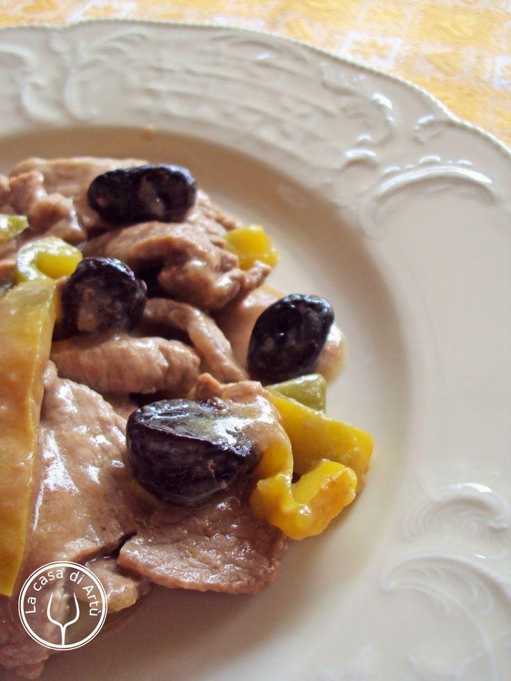 Straccetti di manzo con peperone, olive nere e coriandolo