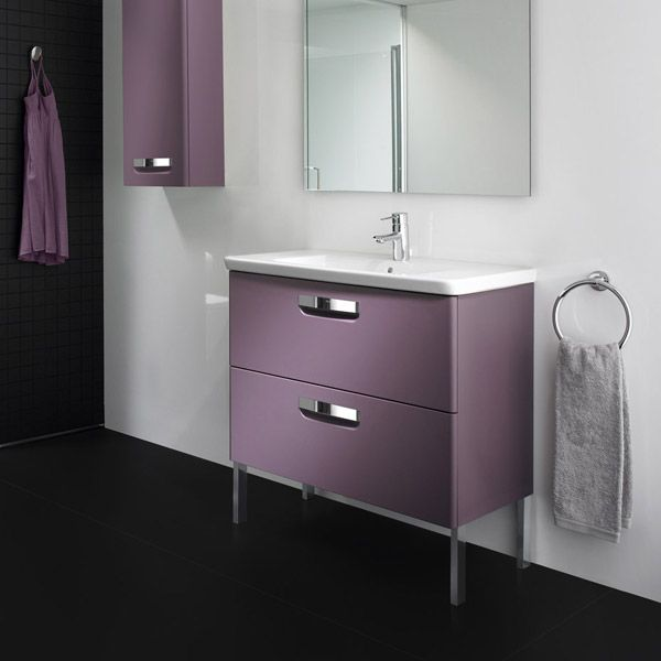 Walls and floors don't have to be the only things that add colour to the bathroom anymore.  http://www.victorianplumbing.co.uk/roca-the-gap-unik-wall-hung-2-drawer-vanity-unit-with-basin-w700-x-d440mm-matt-grape.aspx