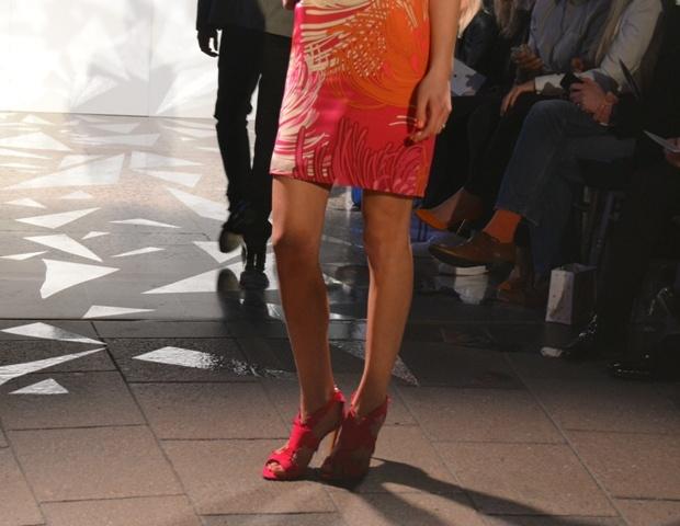 Gucci dress, Rupert Sanderson shoes @ Harvey Nichols Leeds SS13 fashion show