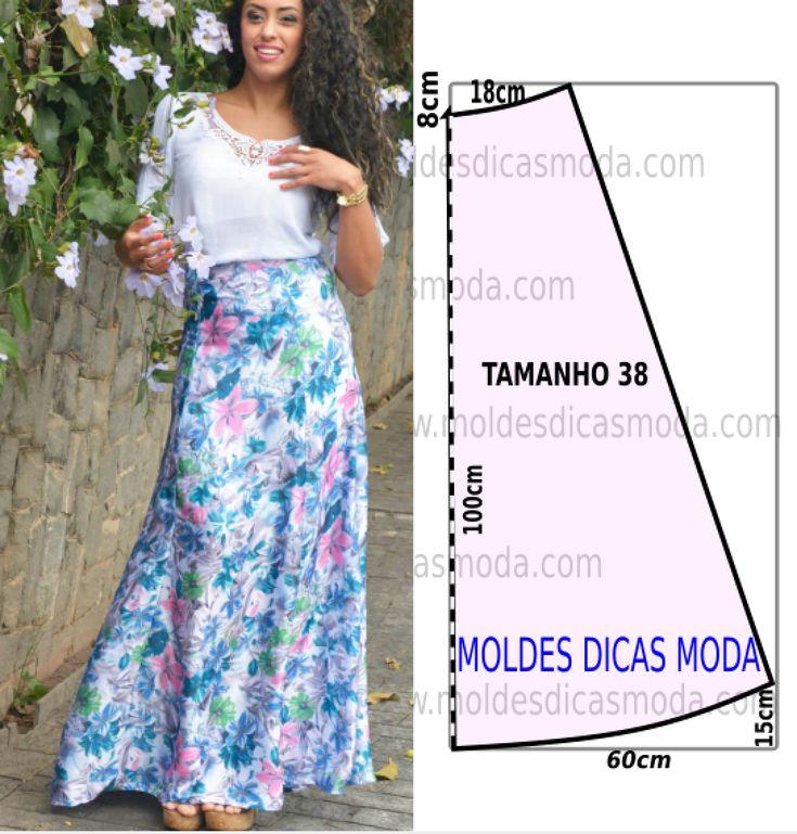 O molde de saia longa feminina encontra-se no tamanho 38. A ilustração do molde de saia não tem valor de costura tem que ser acrescentado. Este trabalho
