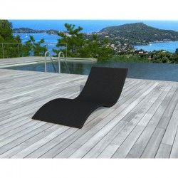 Le bain de soleil transat GIRONA en résine tressée noire existe aussi en marron chocolat.
