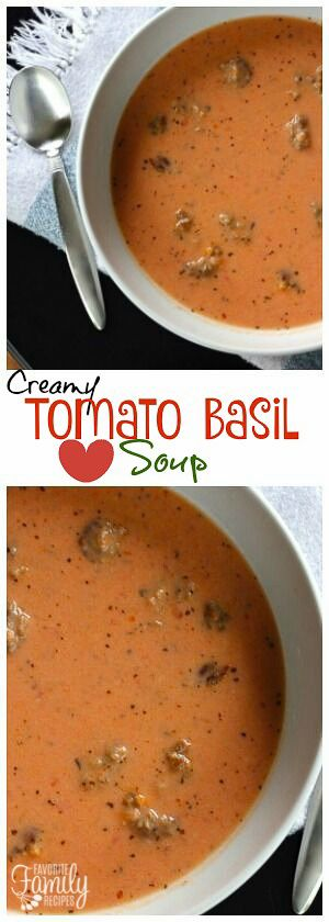 This Creamy Tomato Basil Soup with Sausage rivals the best restaurant tomato basil soup. The sausage and seasonings give it a rich and hearty flavor. via @favfamilyrecipz