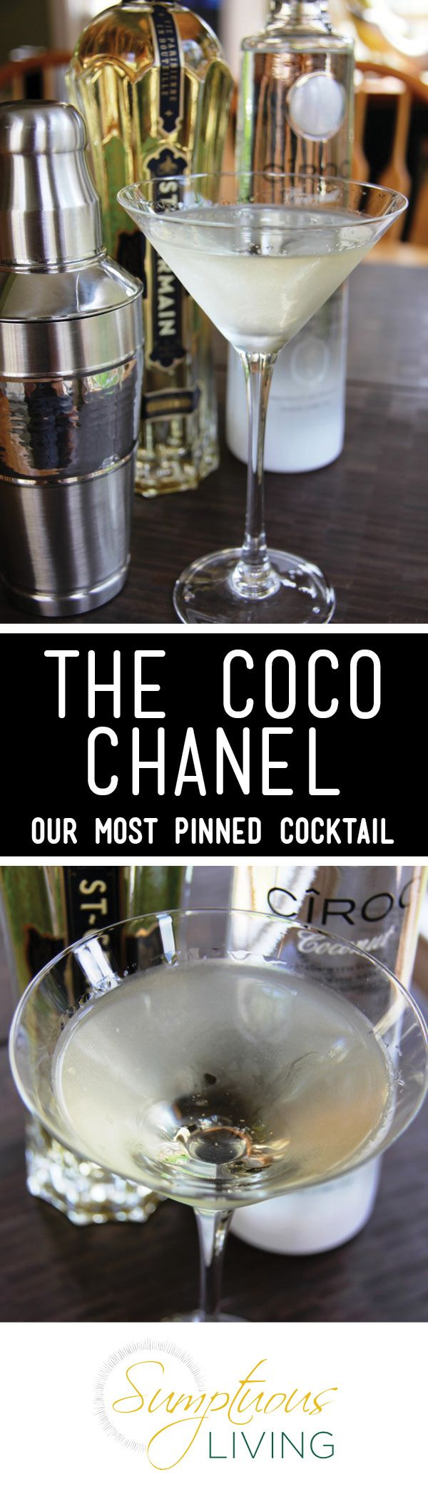 The Coco Chanel Martini is light and floral using Ciroc Coconut Vodka and St. Germaine. | Sumptuous Living | http://sumptuousliving.net/cocktail-fridays-the-coco-chanel/