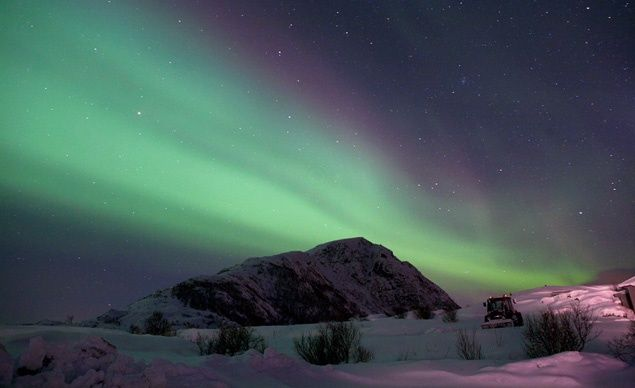 Occasionally, you'll see red and purple streaks during Aurora Borealis. The lights make predictable appearances every winter in places like the Lofoten Islands and Tromso in Norway.