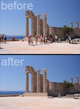 "Delete tourists from your travel photos 1: Set your camera on a tripod. 2: Take a picture about every 10 seconds until you have about 15 shots  3: Open all the images in Photoshop by going to File > Scripts > Statistics. Choose ""median"" and select the files you took. 4: Bam!  Photoshop finds what is different in the photos and simply removes it!  Since the people moved around, it fills the area where someone was standing with part of another photo where no one was there."