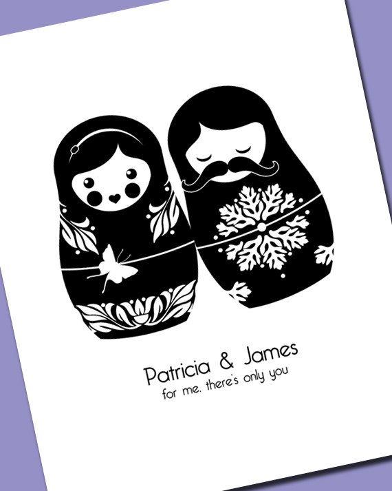 Matryoshka Print for Wedding or Anniversary (5x7) Russian Nesting Doll Babushka