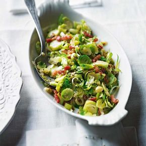 This brussels sprout recipe made with bacon, leek and caraway is ready in just 30 minutes.