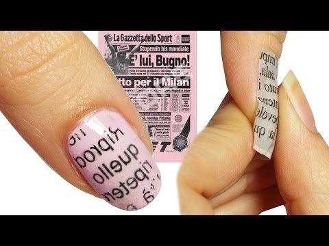 Come fare la Nail Art Giornale / Newspaper GAZZETTA ROSA!! - YouTube