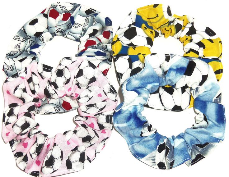 Scrunchie Hair Styles: Hair Scrunchie Soccer Ball Fabric Tie Pink Blue Happy