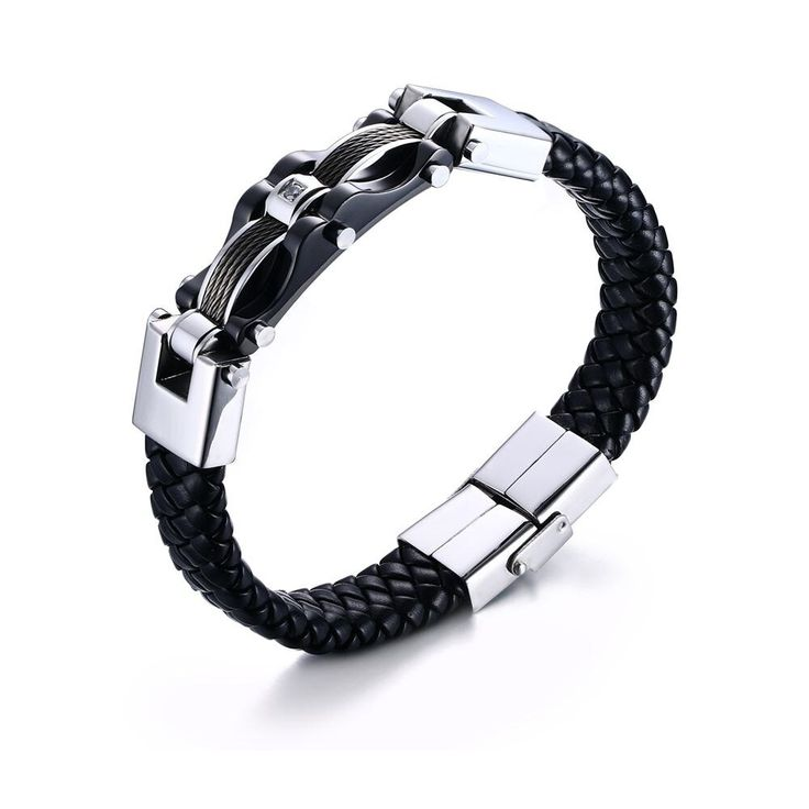 Mens braided leather bracelets stainless steel cable inlay weave leathers bracel…   – Products