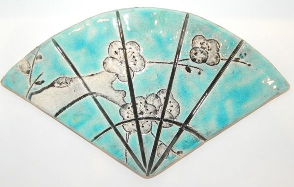 The little GALLERY of fine ARTS. Turquoise Large Fan wall decor