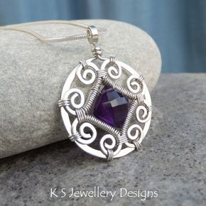 Inspiration Amethyst Spiral Circle Frame Sterling Silver Pendant – Wire Wrapped