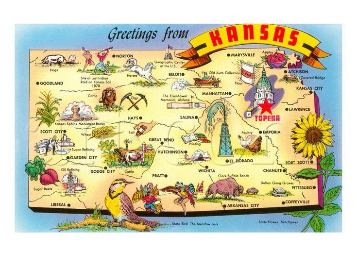 Greetings From Kansas Map Kansas States And Kansas Usa - Kansas state map