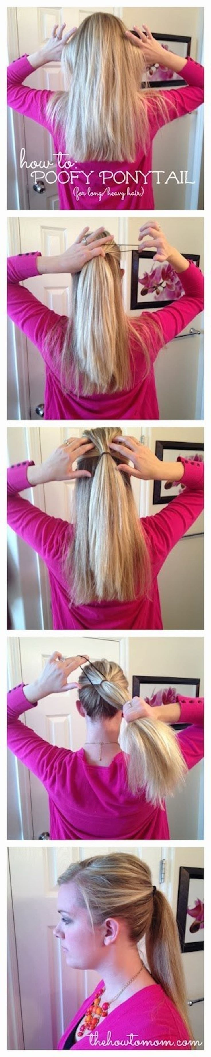To make it look cohesive, use a thinner band to pull your hair into half-up/half-down. Then use a regular elastic to tie the second ponytail over it. Full how-to here.