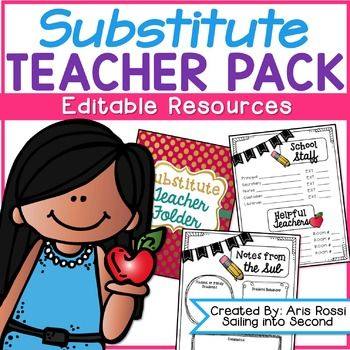 This EDITABLE substitute teacher binder makes preparing for a sub super easy! This was created to help the day run smoothly in the classroom while you are away! This editable resource is full of black line masters, binder covers and dividers, lesson plan templates, a sub letter, fun and engaging activities to help your sub make it through the day, and more!