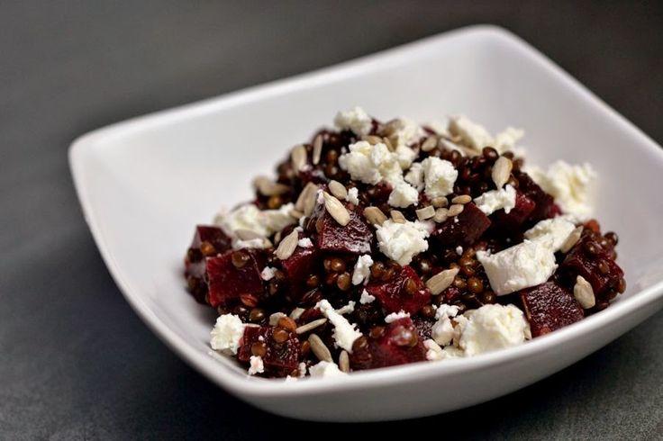 Beluga Linsen mit roter Beete und Feta   Herbs & Chocolate