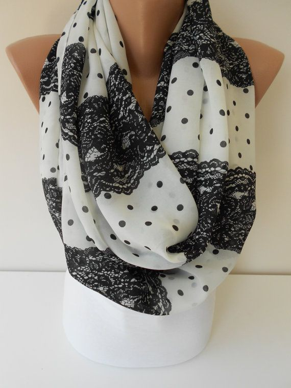 So Soft Chiffon Scarf Infinity Scarf Lace Print Scarf Circle Scarf Black and White Scarf Loop Scarf Women Fashion Accessories MiracleShine on Etsy, $17.90