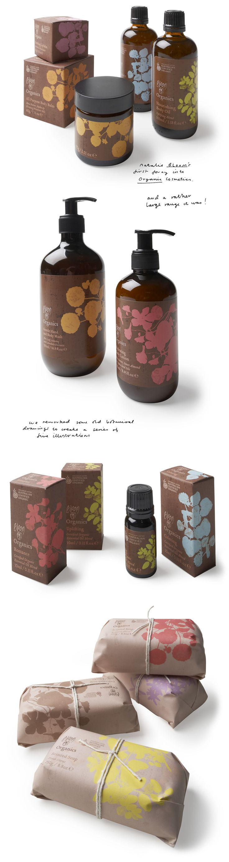 bloom organics by mahonandband.com. The solid bloom color against the brown. Modern, simple, clean. Feels organic. Love the tied up soaps.