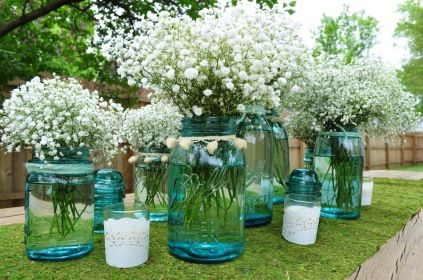 blue mason jars baby's breath baby shower; mix with other mason jar centerpiece idea