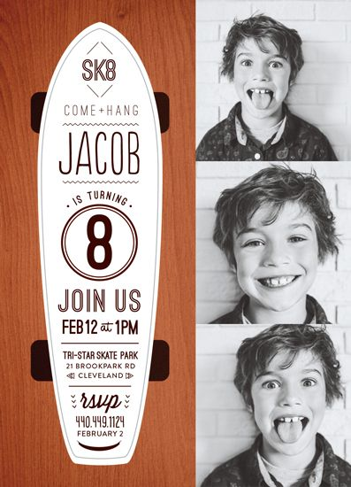 birthday party invitations - SK8 by robin ott design