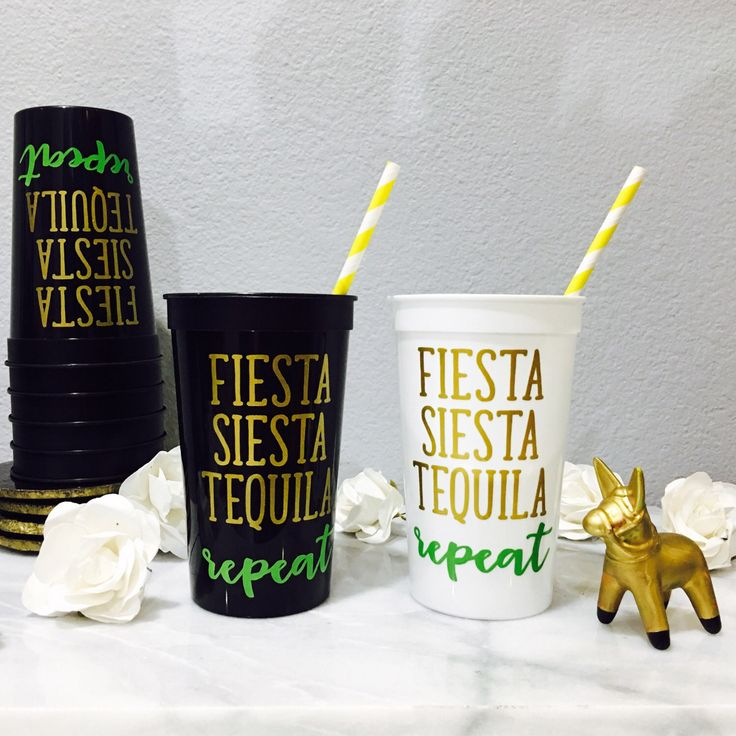 Set (6+) - Personalized Bachelorette Reusable Cups - Fiesta Siesta Tequila Repeat - Bridal Party Gift, Bachelorette cups, Bachelorette Party by DaintyLaneDesigns on Etsy https://www.etsy.com/listing/453176166/set-6-personalized-bachelorette-reusable