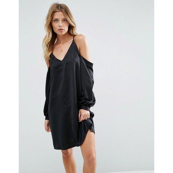 ASOS Cold Shoulder Dress In Satin ($52) ❤ liked on Polyvore featuring dresses, black, asos cocktail dresses, tall dresses, asos, cut-out shoulder dresses and v neck cocktail dress