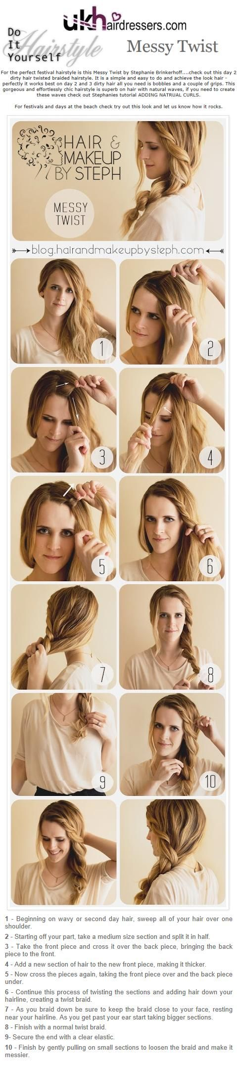 DIY Hairstyles Messy Twist (so easy took me around 1 min!)