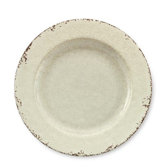 William Sonoma Rustic Melamine Dinner Plates. I want these! They are shatterproof!