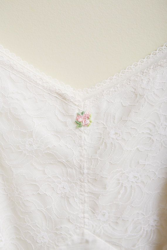 1960s Handmade White Camisole with Lace by SoftServeVintage