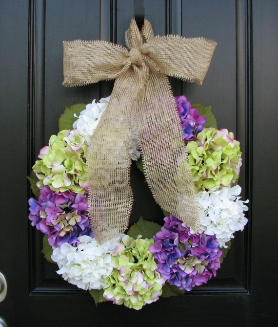 Could totally DIY this...Minus the purple. Hydrangea summer wreath