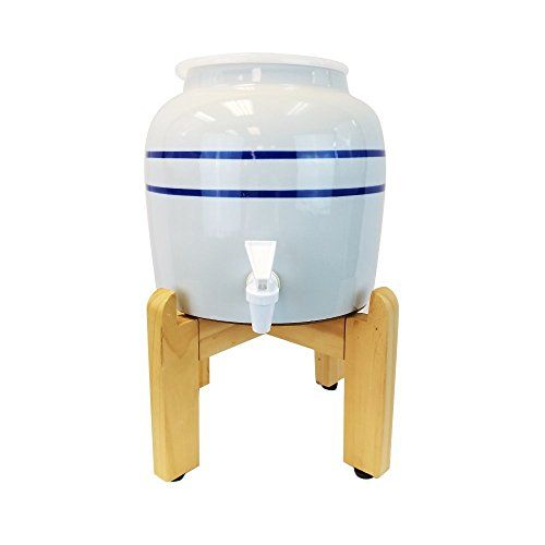 Blue Stripe Porcelain Water Crock Dispenser with a Wood Stand Fits 3 Gallon 4 Gallon or 5 Gallon Drinking Water Bottles For Your Table or Countertop ** Check out this great product.Note:It is affiliate link to Amazon.